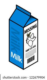 "Concept: missing peace. Milk carton with a ""missing""  notice."