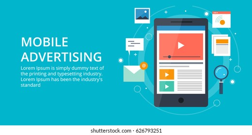 Concept for Mobile advertising, Mobile media, personalized marketing flat vector banner with icons and texts