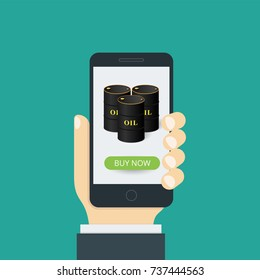 Concept of a mobile application. In hand a smartphone, and on the screen an oil barrel with a buy now button. Vector illustration.
