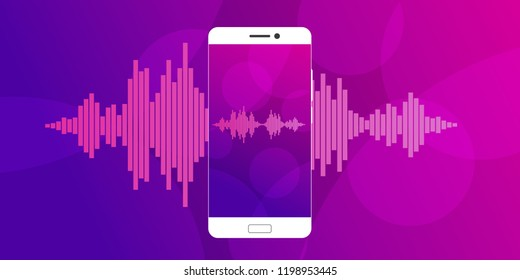 Concept of mobile application voice recognition. Sound wave with imitation of voice. Vector illustration.