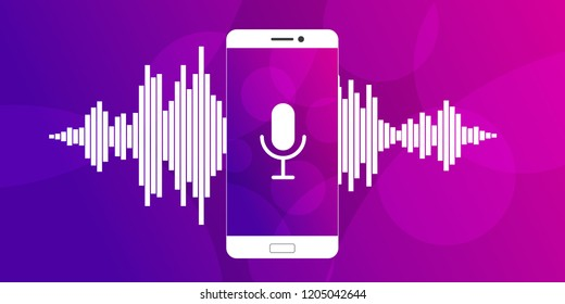 Concept of mobile application voice recognition. White sound wave with imitation of voice and microphone icon. Vector illustration.