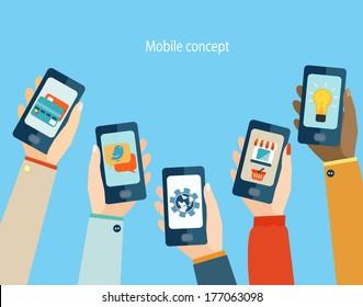 Concept for mobile apps, Flat design vector illustration.