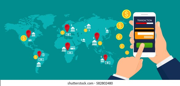concept of mobile banking. Mobile payments, mobile banking and transactions around the world. Vector illustration.