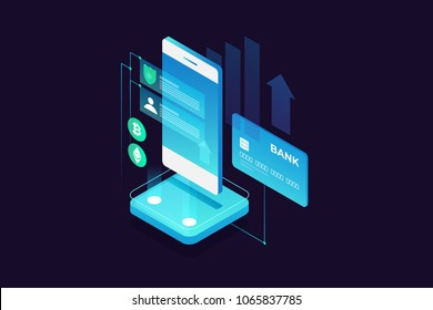Concept of mobile payments, personal data protection. Transfer money from card. Isometric image of smartphone and bank card on dark background. Cryptocurrency and blockchain. Vector illustration.