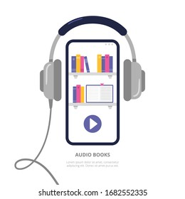 Concept with a mobile phone and headphones. Digital library with audiobooks, podcasts, and courses. Vector illustration in a modern flat style.