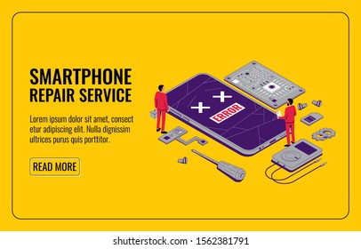 The Concept of Mobile Repair. Broken Smartphone Screen with Repairman. Smartphone with details. Repairmen carry out diagnostics and repair work. Isometric vector illustration