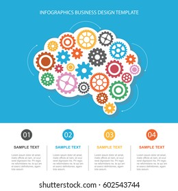 Concept of modern business. The brain and gears. Infographics template.