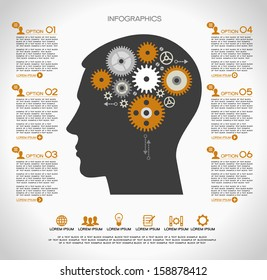 Concept of modern business. Silhouette of a human head with the brain and gears. Infographics template.