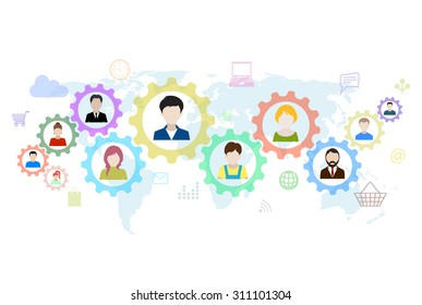 Concept of modern business and teamwork. Design background with avatars of people, gears,  icons.
