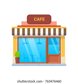 Concept of modern city cafe building facade. City cafe building. Street Cafe, fast food, restaurant. Coffeeshop. Urban landscape. Vector illustration isolated on white background.