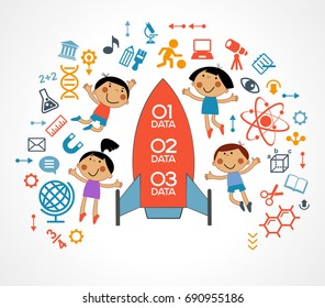 The concept of modern education. Template with child surrounded by science and education icons. The generation of knowledge. File is saved in 10 EPS version.