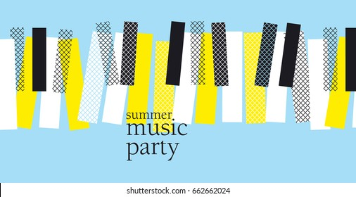 concept modern music poster vector illustration. Print and web design template for summer piano concert, party, jazz session in memphis post-modernist style.