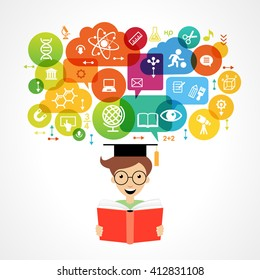 Concept of modern training. Child's head surrounded by science and education icons in brightly colored circle.