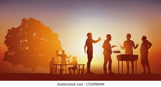 Concept of a moment of conviviality, with a group of friends gathered around a barbecue, to spend a moment of relaxation under the sun of a summer day.