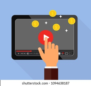 The concept of monetization of the video. Making money on video content. Vector illustration.