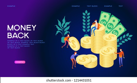 Concept of money back. People interact with money. Page template. 3d isometric illustration