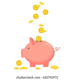 Concept of money, investment, banking or business services. Vector illustration. Piggy bank with coin icon, isolated flat style.