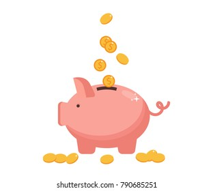 Concept of money, investment, banking or business services. Flat design.Pig bank with coin icons. Flat style. Saving money. Vector illustration.