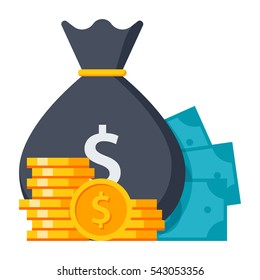 Concept of Money like a money bag, stack coins and banknote