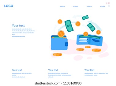 Concept Money transfer from and to wallet, Financial savings for web page, banner, presentation, social media, documents, cards, posters. Vector illustration Capital flow, earning or making money