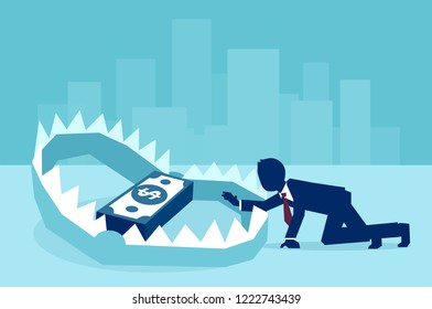 Concept of money trap in business, vector flat illustration