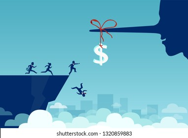 Concept of money trap incentive in business. Vector of group of business people running towards a dollar sign tied to a liar long nose and falling off a cliff