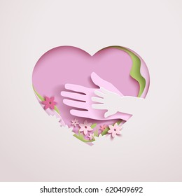 Concept mothers love or mother care motherhood with elements hands, flowers and shapes in the frame heart. Happy Mothers day greeting card in paper cut style in pink colors