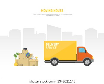 Concept moving house. Pile cardboard boxes with truck on cityscape background. Relocate to new home or office. Vector illustration in flat style.