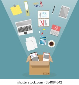 Concept of moving into a new office, cardboard box with documents, laptop, calculator, calendar, tablet PC, coffee cup, blank papers. vector illustration in flat design on blue background