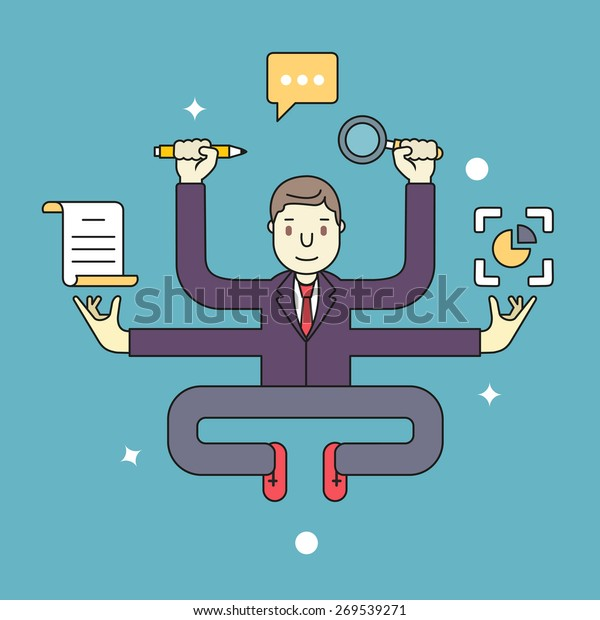 Concept of multitasking businessman who works with more arms. Management and multitasking - vector illustration