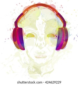 Concept music. An abstract vector for man listening music with headphones. Artistic hand drawn design. Vector illustration