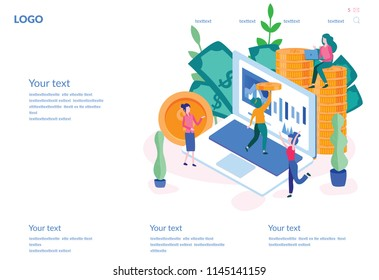 Concept National Accountant's Day, Calculation, for web page, banner, presentation, social media, documents, cards, posters. Vector illustration Woman financial accountant, counting profit, income.