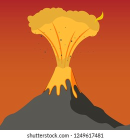 The Concept Natural Climate Disaster mankind. Vector Illustration Cartoon Eruption Volcanoe on Island. Eruption Destructive Fier Lava. Awakening Volcanoe. Volcanic Erupting Mountain