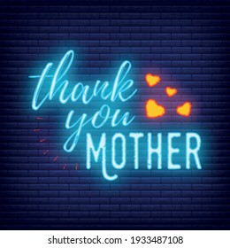 Concept neon Happy Mother's Day banner, logo, label and poster, vector illustration on brickwork background. Design of calligraphy and font greeting, wedding, celebration card.