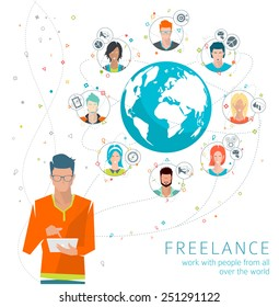 Concept of networking between many people from all over the world. Social media. Collaboration of different men. Vector illustration.