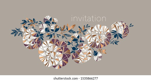 Concept new retro style peony flowers pattern set for card, header, invitation, poster, social media, post publication. Horizontal design element with floral motif.