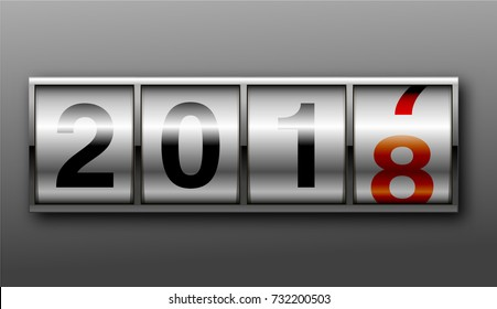 Concept of The New Year 2018. Close Up of The Digits of A Mechanical Counter, Which Counts to 2018. New Year Odometer.