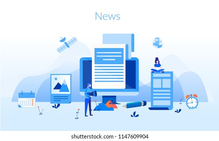 Concept News update, online news, News webpage, information about events, activities, company information and announcements for web page, banner, documents, cards, posters. news website
