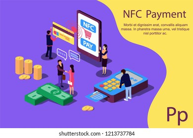 Concept NFC Payment pos terminals with phone and credit card for social media, documents, web page. Vector illustration confirms accept the contactless payment by credit credit card, money.