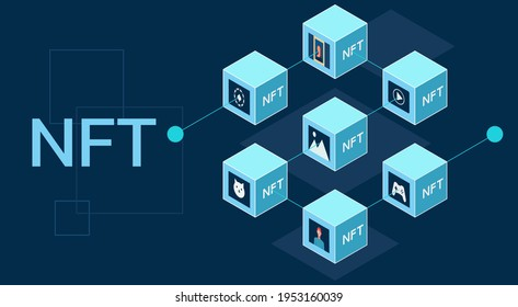 Concept of NFT, non-fungible tokens, Digital items for crypto art, gaming, collectible and blockchain technology on dark background, flat vector illustration