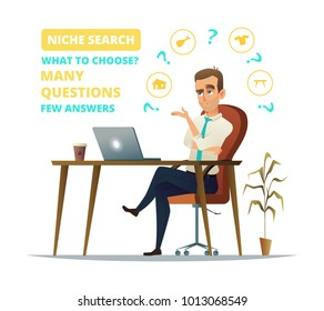 Concept of niche search. Sad Businessman sitting on his workplace. Young business man think. Thinking business man surrounded by question marks and niche icons.