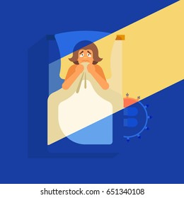 Concept of nightly fear. The man is lying on the bed in the dark. He pressed the blanket to himself. Vector illustration.