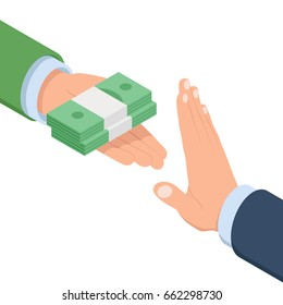 Concept of no bribe stop corruption, businessman holding stack of money in hand offering bribe, hand gesture rejecting the proposal isometric vector flat illustration