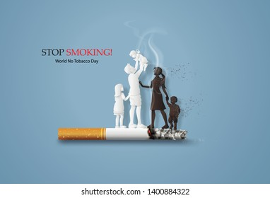 concept of no smoking and World No Tobacco Day with family .Paper cut style.