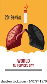 Concept of No smoking and World No Tobacco Day. - Vector