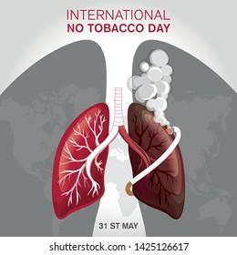 Concept of No smoking and World No Tobacco Day. Vector illustration