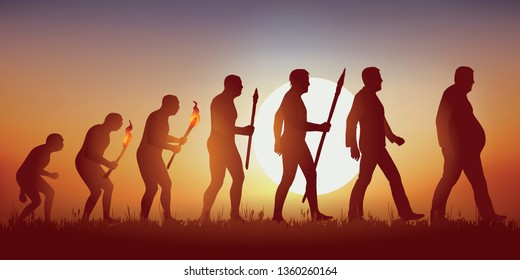 Concept of obesity and unhealthy eating with the symbol of Darwin showing the evolution from primitive man to modern man, leading to an overweight man walking with difficulty.
