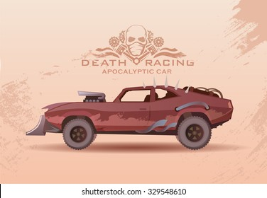 Concept on the theme of cars of the future, post-Apocalypse, Apocalypse, nuclear disaster, death race, buggy, off-road racing, tuning cars. Vector poster in modern flat design.