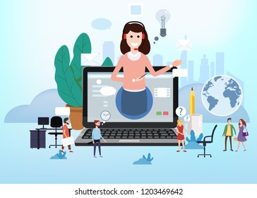Concept online assistant, customer and operator, call centre, online global technical support 24-7. Vector illustration female hotline operator advises client, virtual help service.