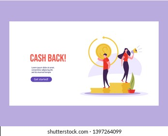 Concept of online banking, transfer money, cash back, money growth. Man with phone and debit or credit card pays and gets money online. Modern vector illustration in flat design with tiny people
